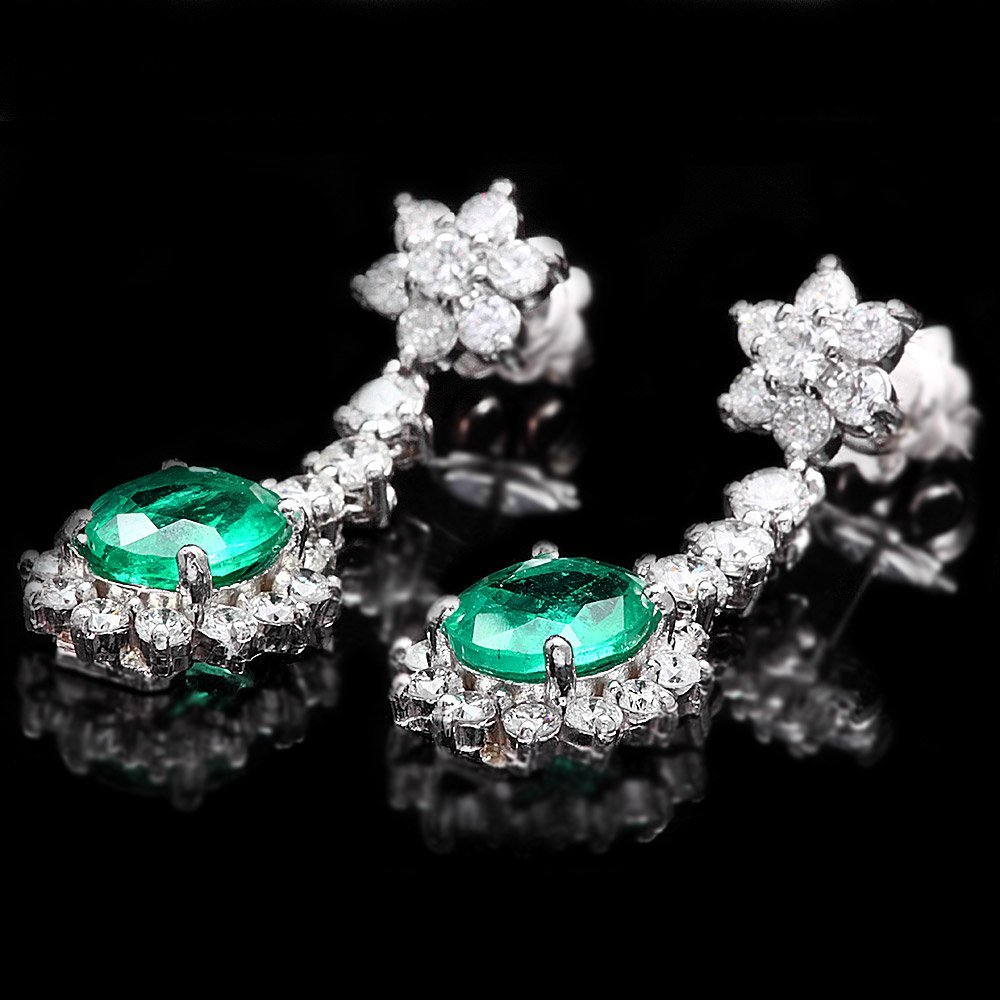 14k W Gold 3.50ct Emerald 2.50ct Diamond Earrings
