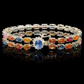 14k Gold 26.5ct Sapphire 0.50ct Diamond Bracelet
