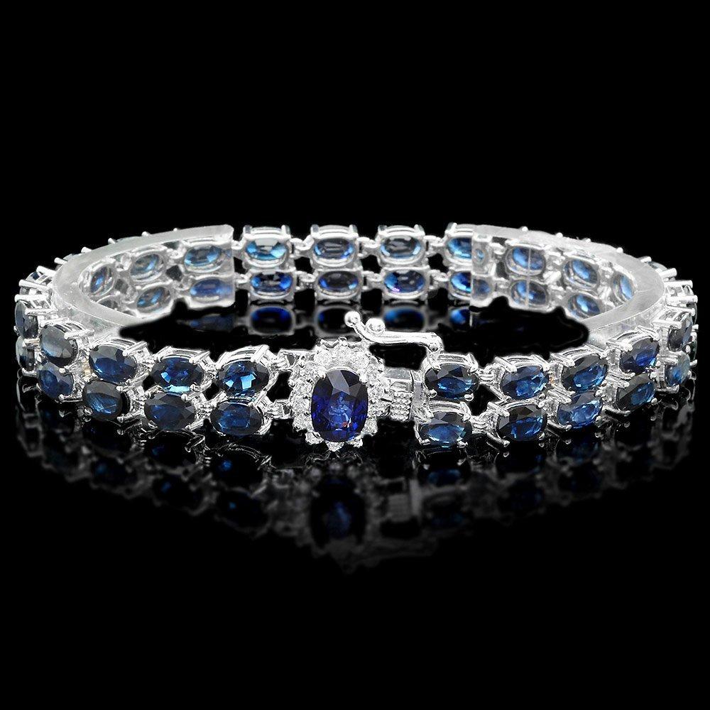 14k Gold 26ct Sapphire .40ct Diamond Bracelet