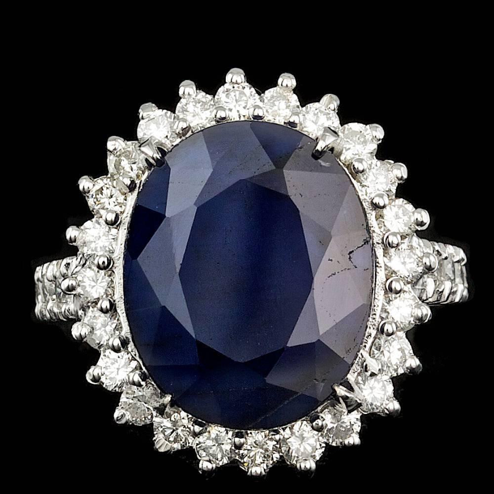 14k Gold 12.00ct Sapphire 1.25ct Diamond Ring