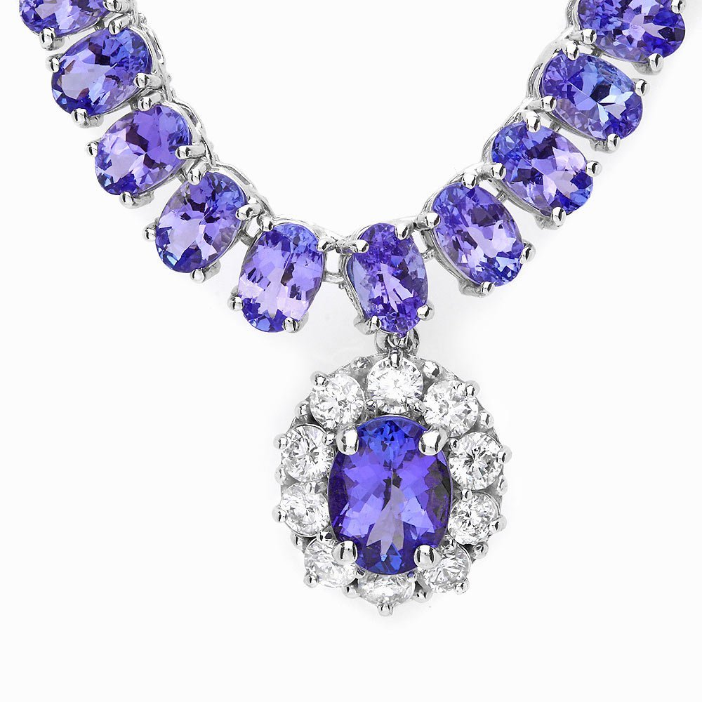 14k W Gold 29ct Tanzanite 1.35ct Diamond Necklace