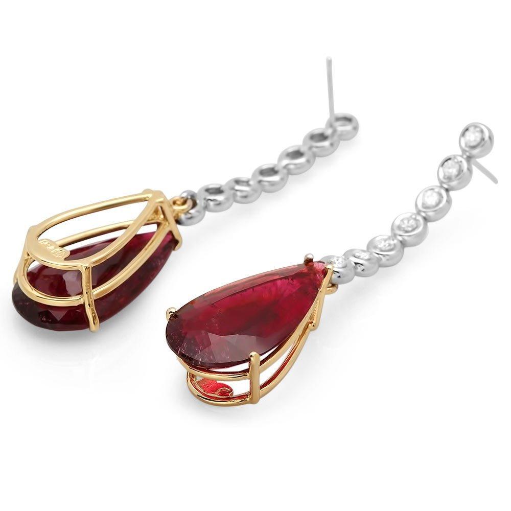 14k 21.50ct Tourmaline 0.60ct Diamond Earrings