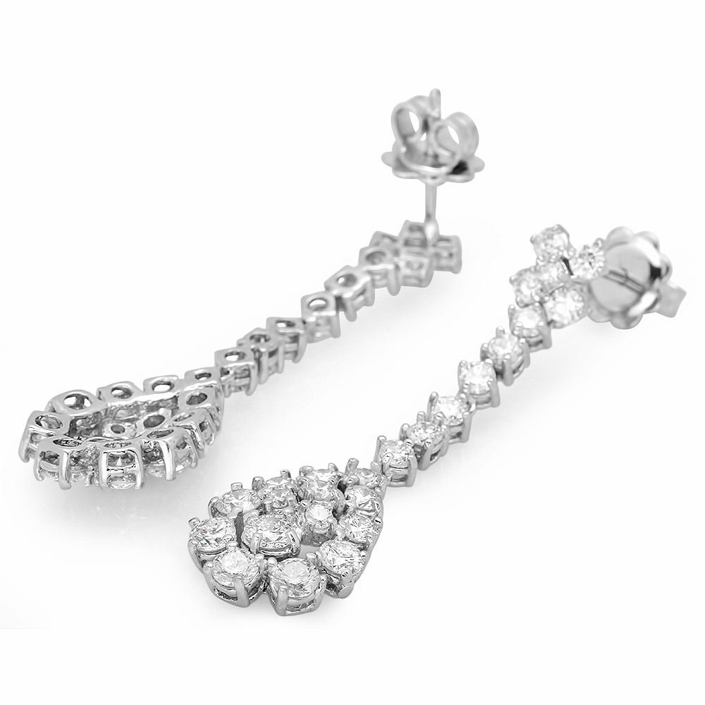 14k White Gold 3.30ct Diamond Earrings
