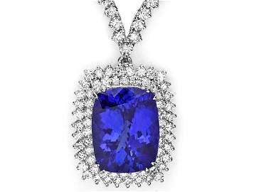 18k 17.50ct Tanzanite 7.35ct Diamond Necklace