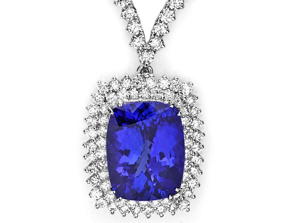 18k 17.50ct Tanzanite 7.35ct Diamond Necklace