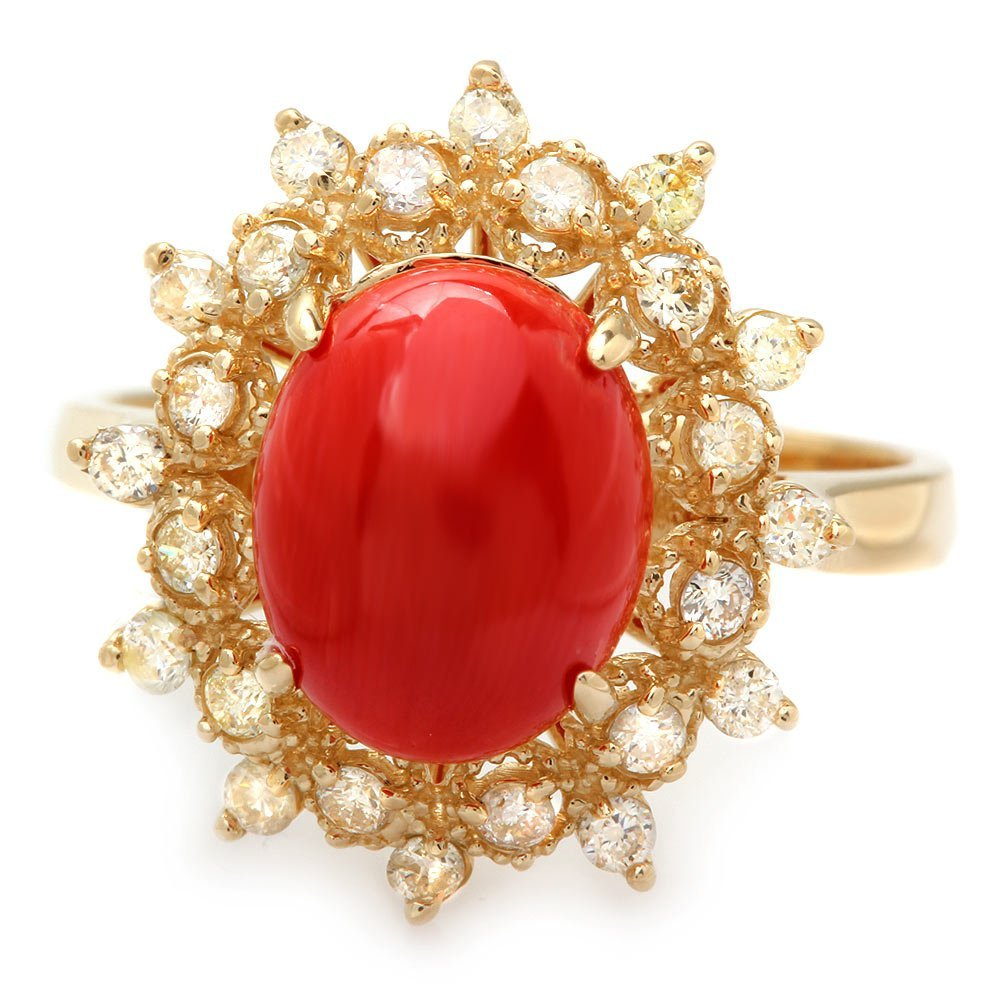 14k Yellow Gold 2.75ct Coral 0.50ct Diamond Ring