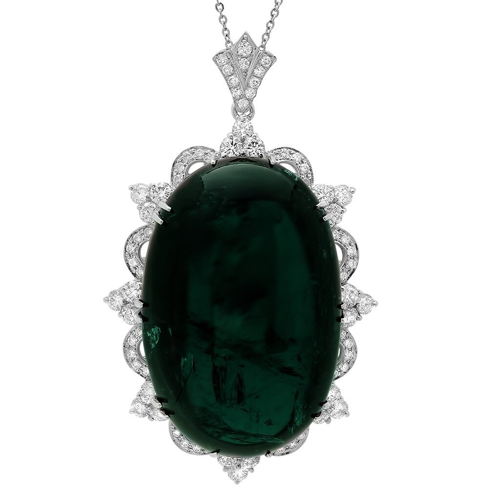 18k 332.00ct Tourmaline 6.40ct Diamond Pendant