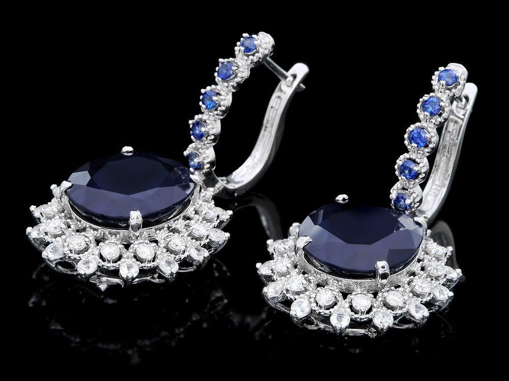 14k Gold 18.5ct Sapphire 1.50ct Diamond Earrings - 2