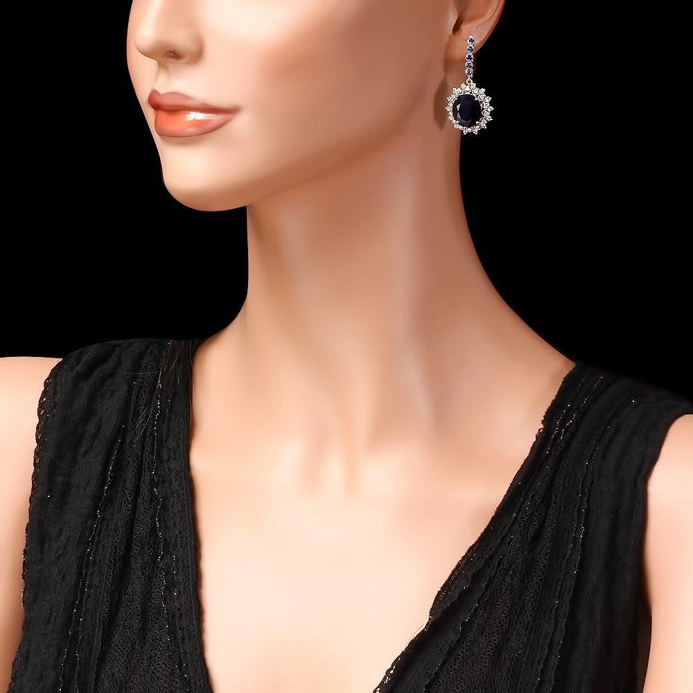 14k Gold 18.5ct Sapphire 1.50ct Diamond Earrings - 3