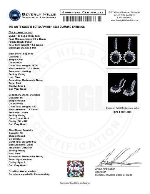 14k Gold 18.5ct Sapphire 1.50ct Diamond Earrings - 5