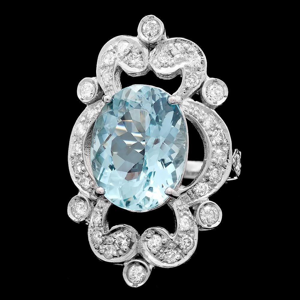 14k Gold 7.00ct Aquamarine 1.15ct Diamond Ring - 2
