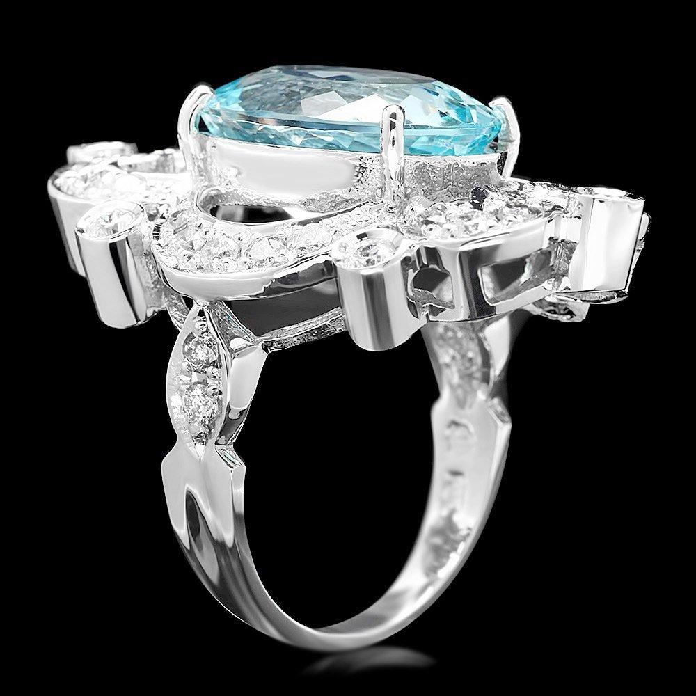 14k Gold 7.00ct Aquamarine 1.15ct Diamond Ring - 3
