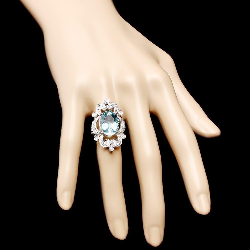14k Gold 7.00ct Aquamarine 1.15ct Diamond Ring - 4