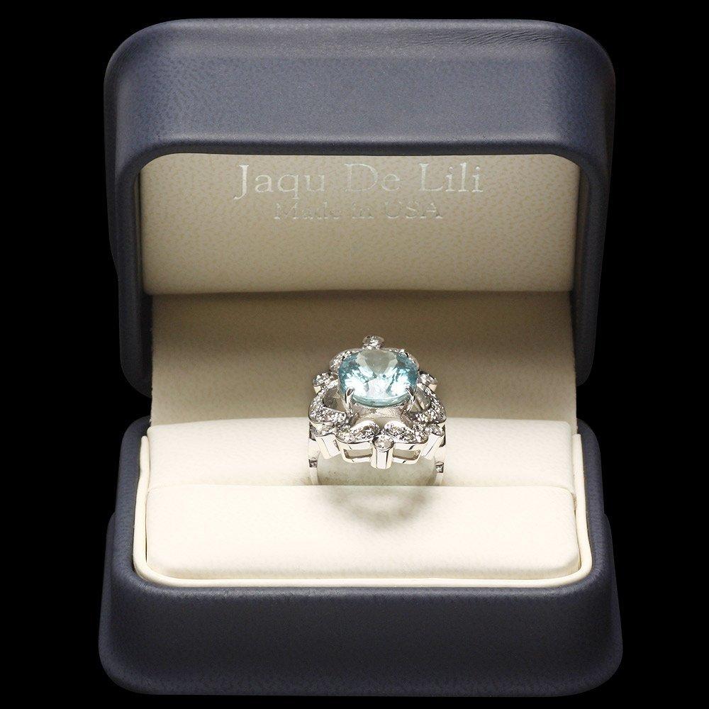 14k Gold 7.00ct Aquamarine 1.15ct Diamond Ring - 5
