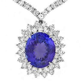 18k Gold 12ct Tanzanite 11ct Diamond Pendant