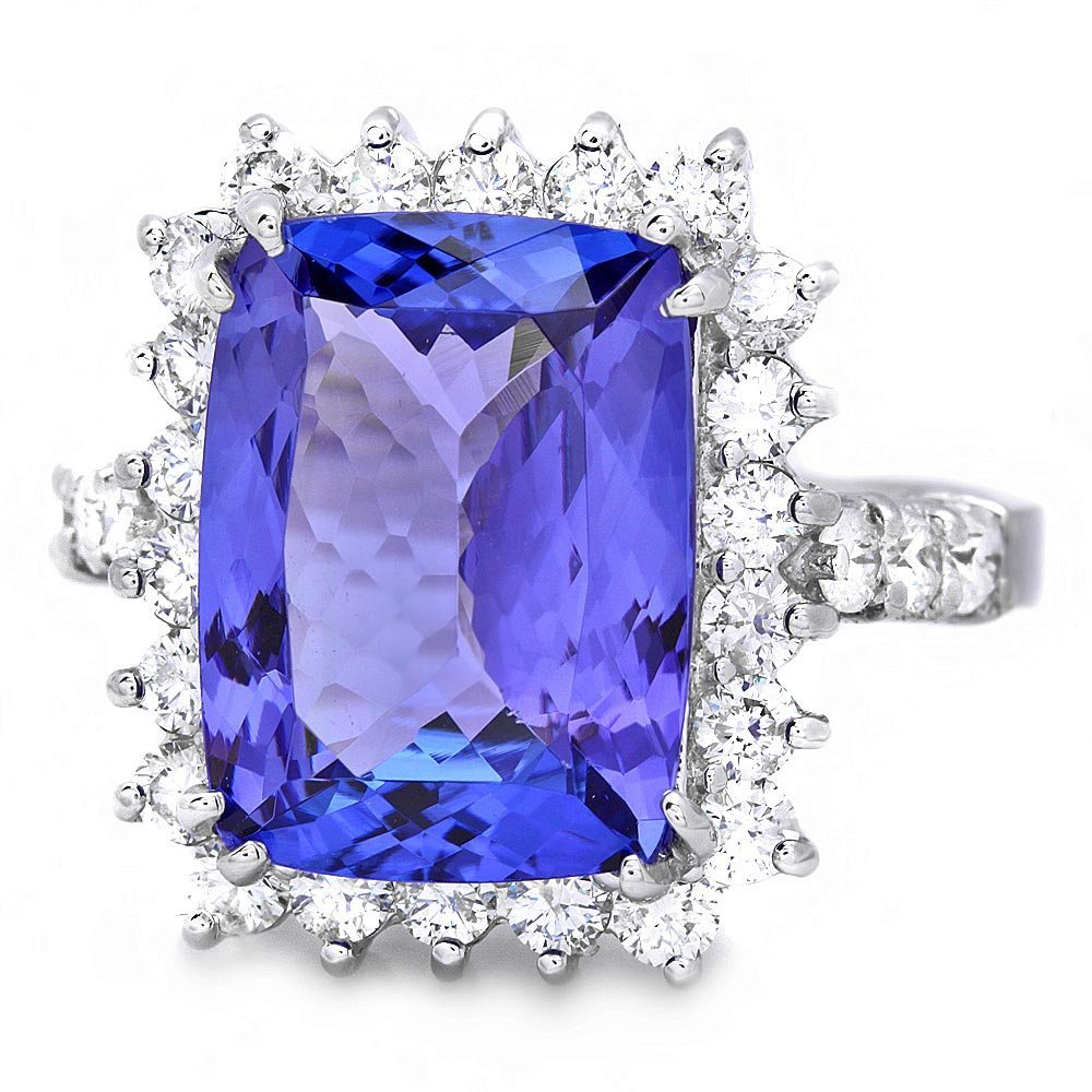 18k Gold 6.50ct Tanzanite 1.10ct Diamond Ring