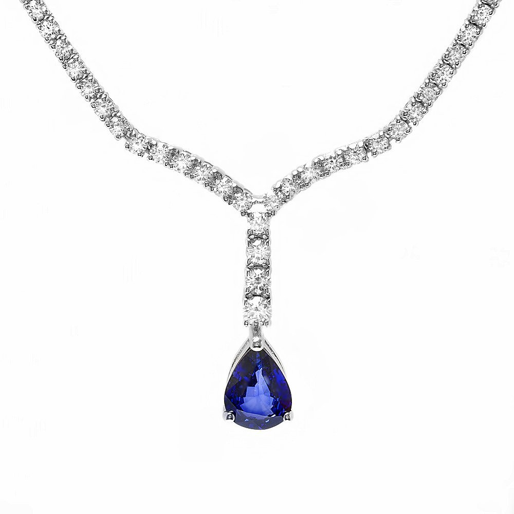 18k Gold 1.50ct Sapphire 3.50ct Diamond Necklace