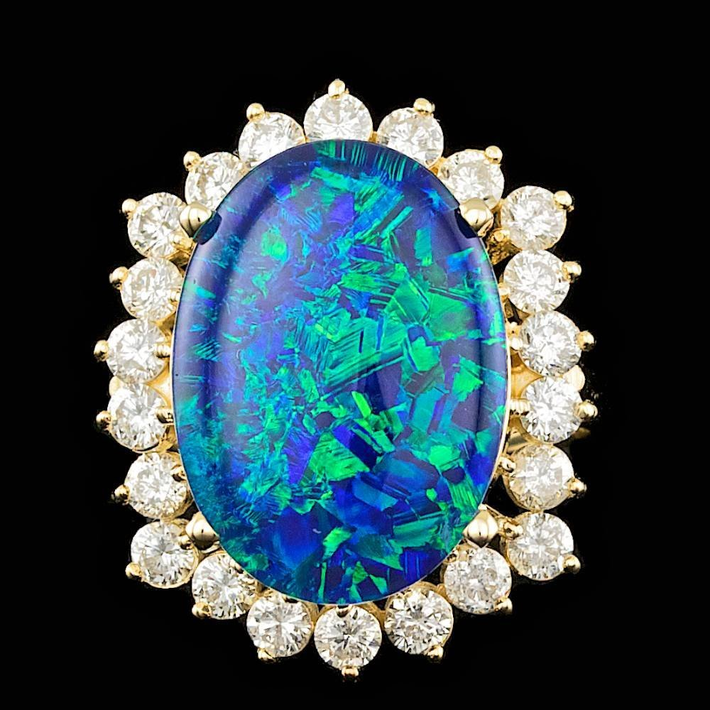 14k Yellow Gold 6.50ct Opal 1.50ct Diamond Ring