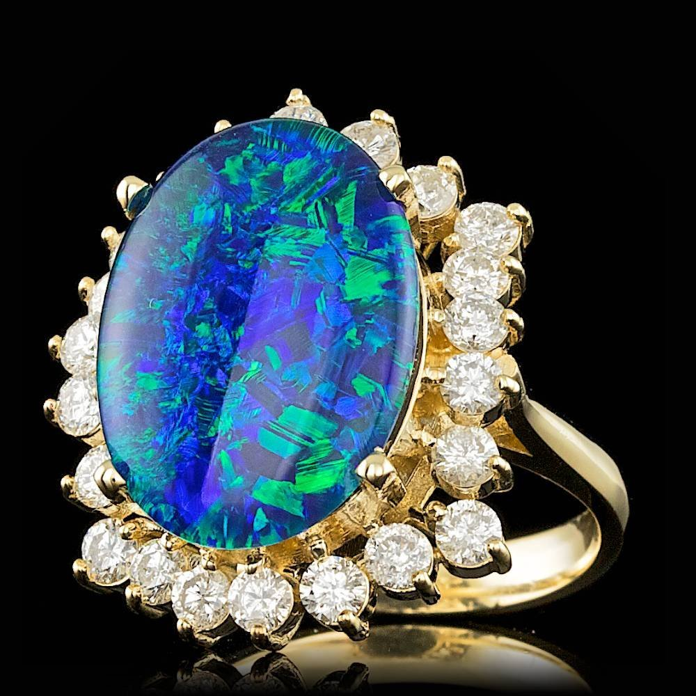 14k Yellow Gold 6.50ct Opal 1.50ct Diamond Ring - 2