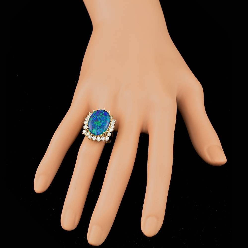 14k Yellow Gold 6.50ct Opal 1.50ct Diamond Ring - 4