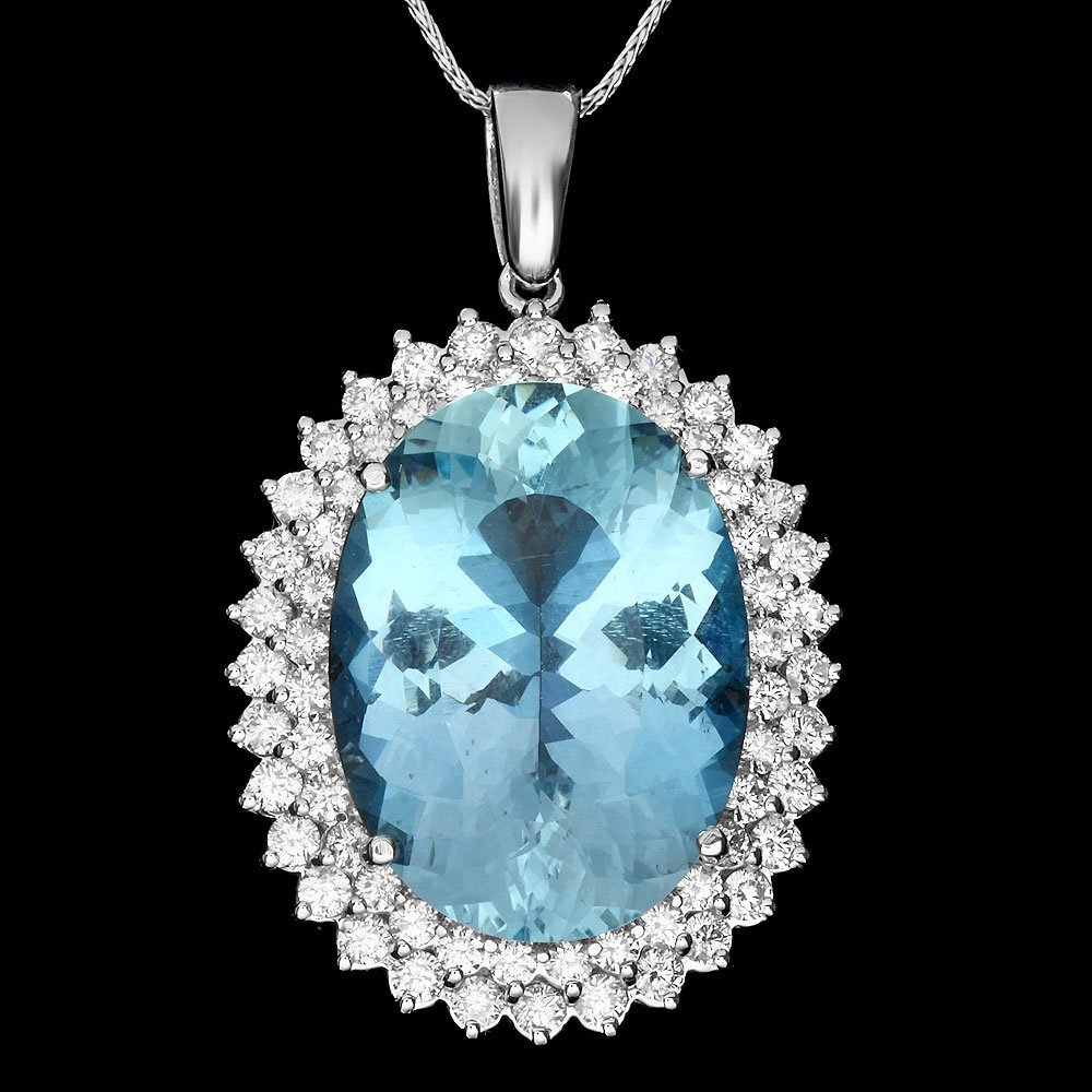 14k Gold 20ct Aquamarine 2.2ct Diamond Pendant - 2
