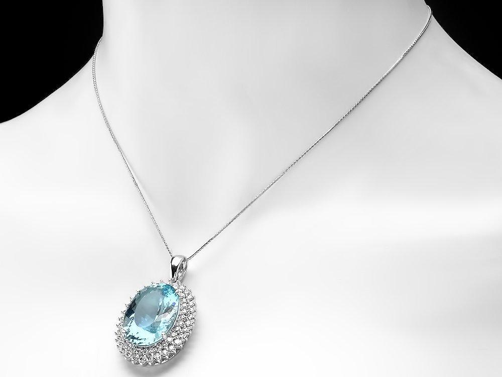 14k Gold 20ct Aquamarine 2.2ct Diamond Pendant - 4