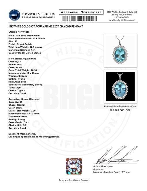 14k Gold 20ct Aquamarine 2.2ct Diamond Pendant - 6