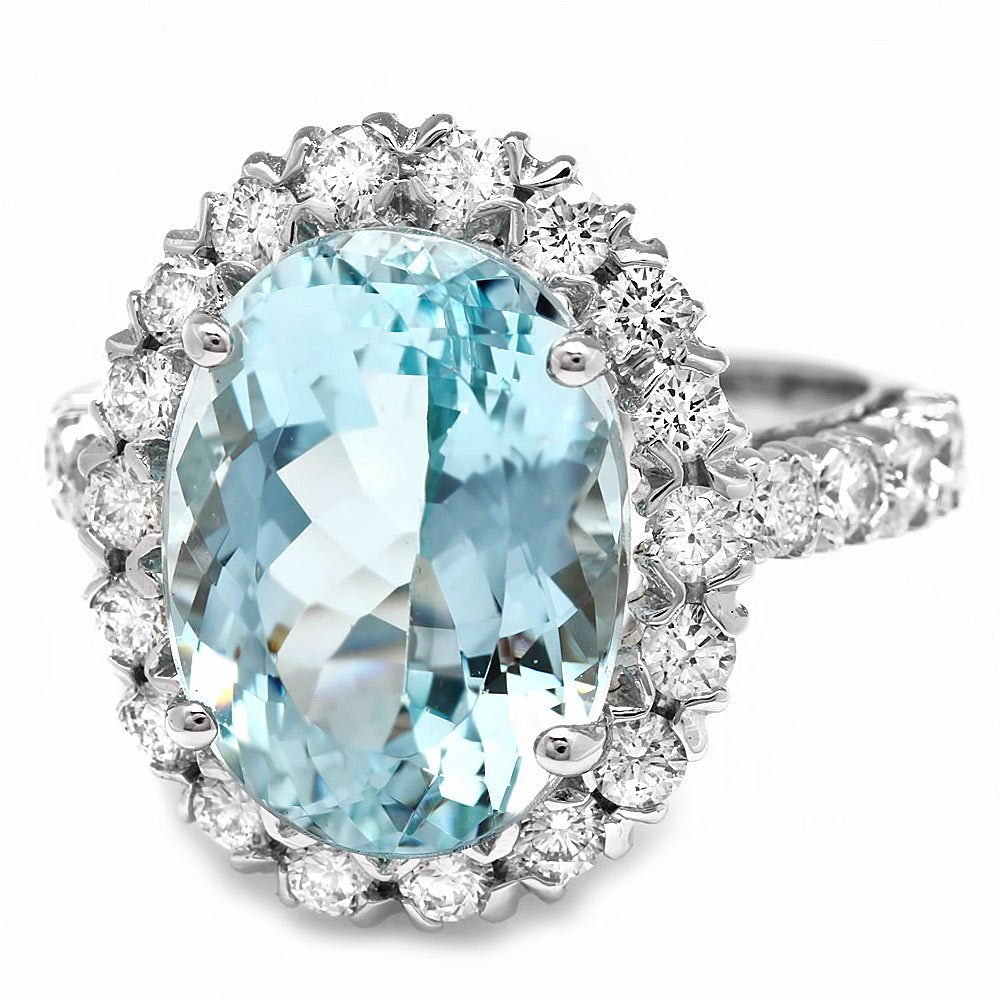 14k Gold 7.70ct Aquamarine 1.27ct Diamond Ring