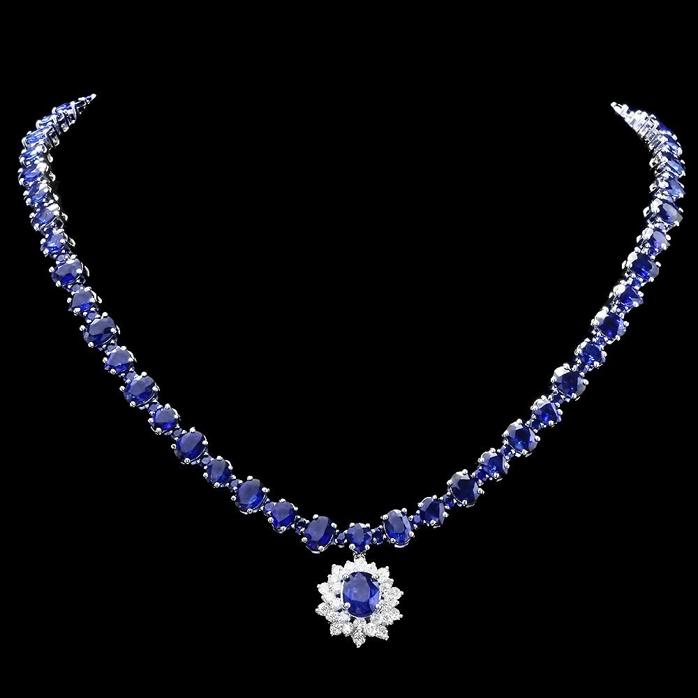 14k Gold 50ct Sapphire 2.00ct Diamond Necklace