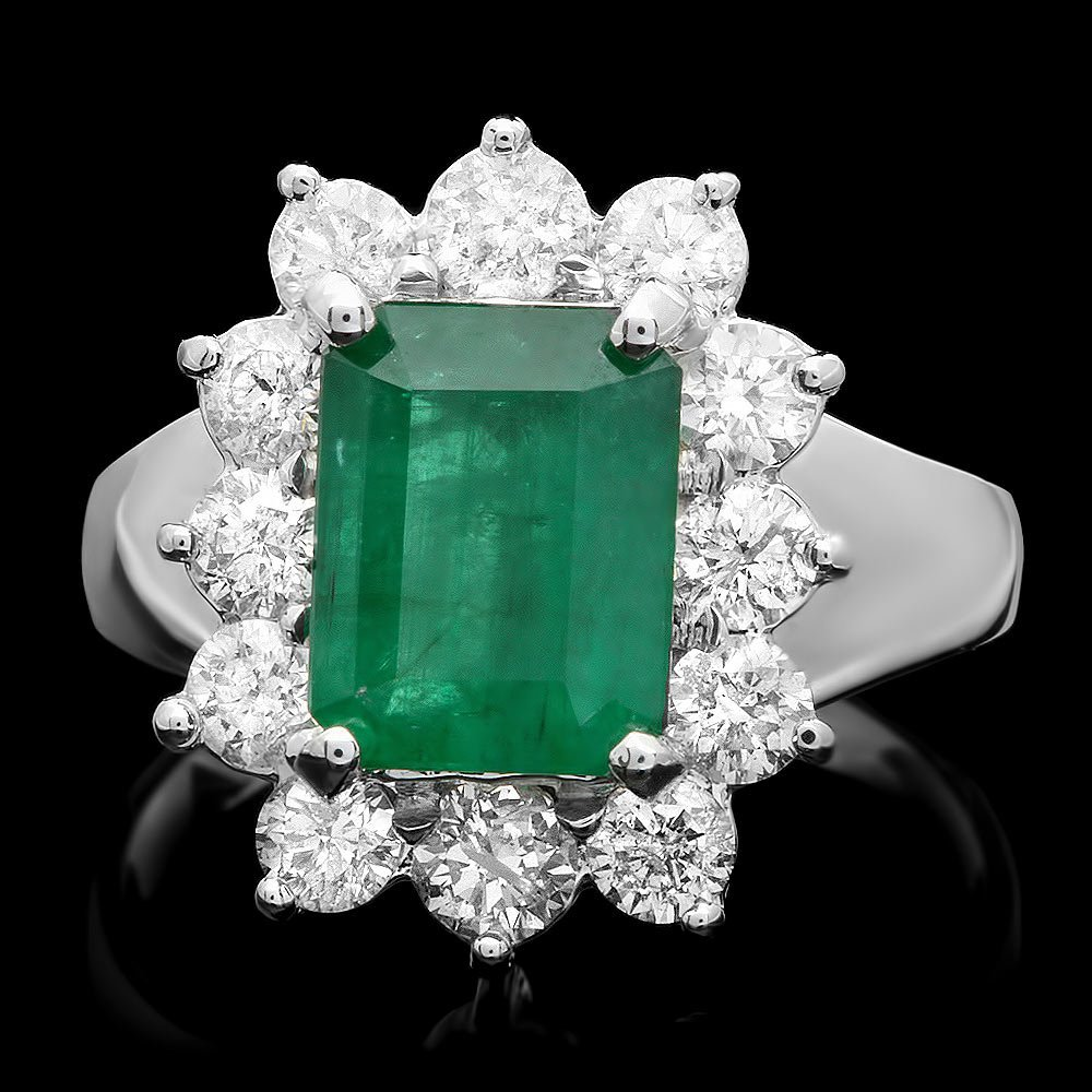 14k White Gold 2.50ct Emerald 1.20ct Diamond Ring