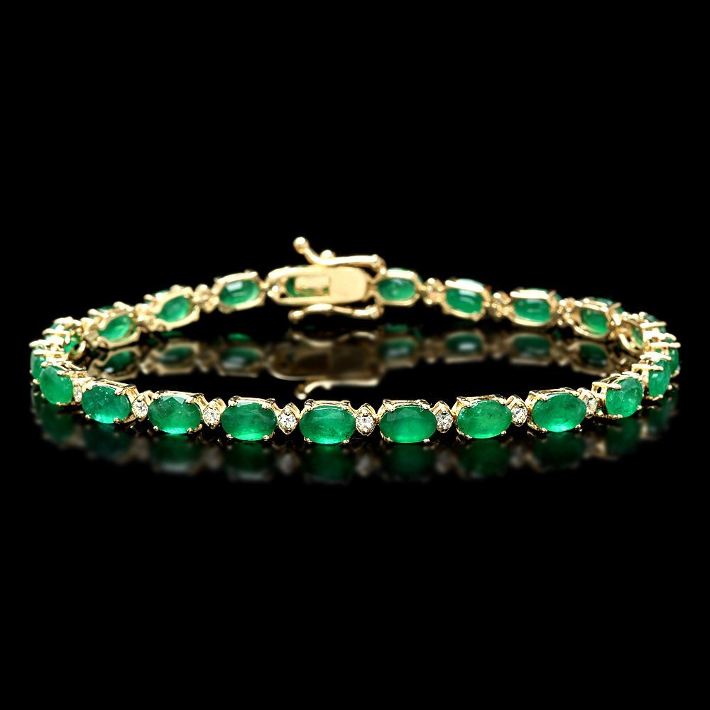 14k Gold 10ct Emerald 0.60ct Diamond Bracelet
