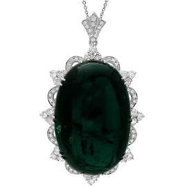 18k 332.00ct Tourmaline 6.40ct Diamond Pendant