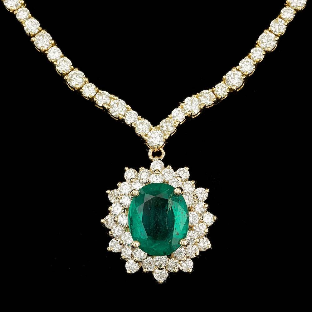 18k Gold 5.00ct Emerald 14.85ct Diamond Necklace