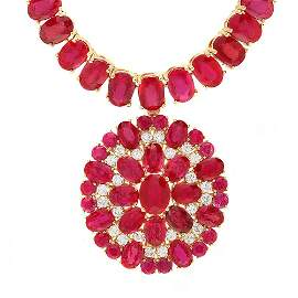 14k Gold 97.5ct Ruby 1.10ct Diamond Necklace