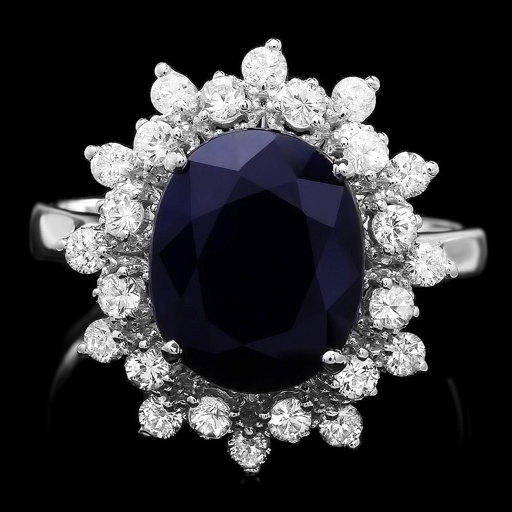 14k Gold 4.00ct Sapphire 0.75ct Diamond Ring