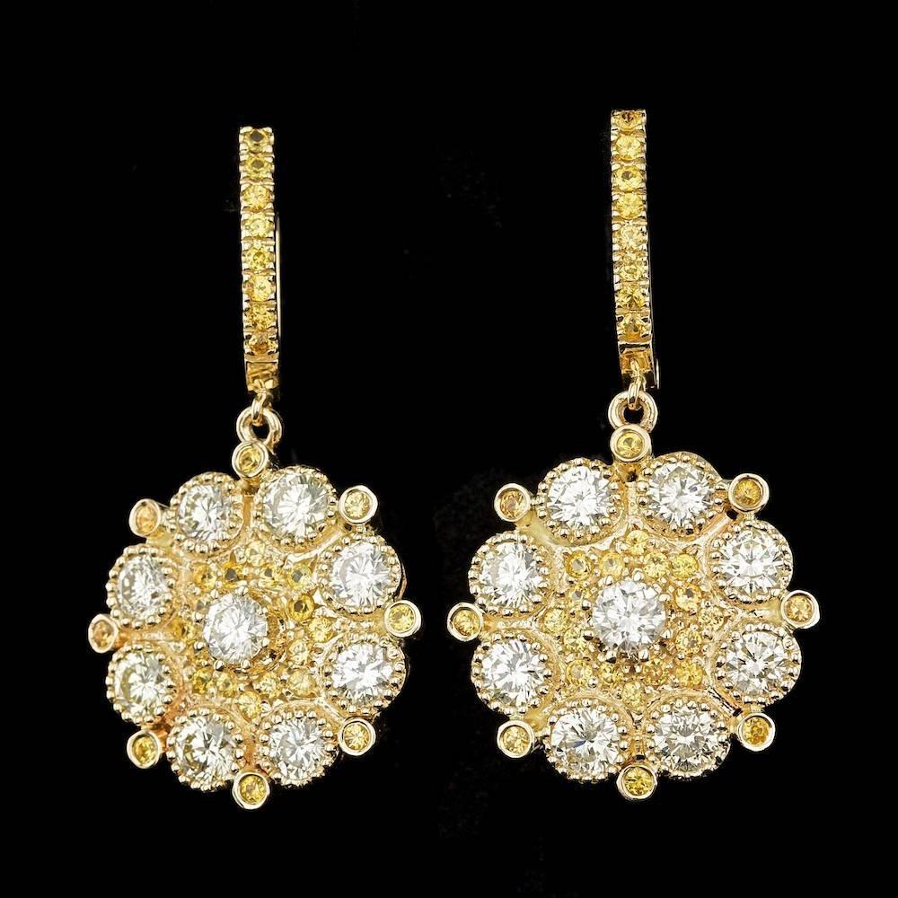 14k Yellow Gold 6.4ct Diamond Earrings