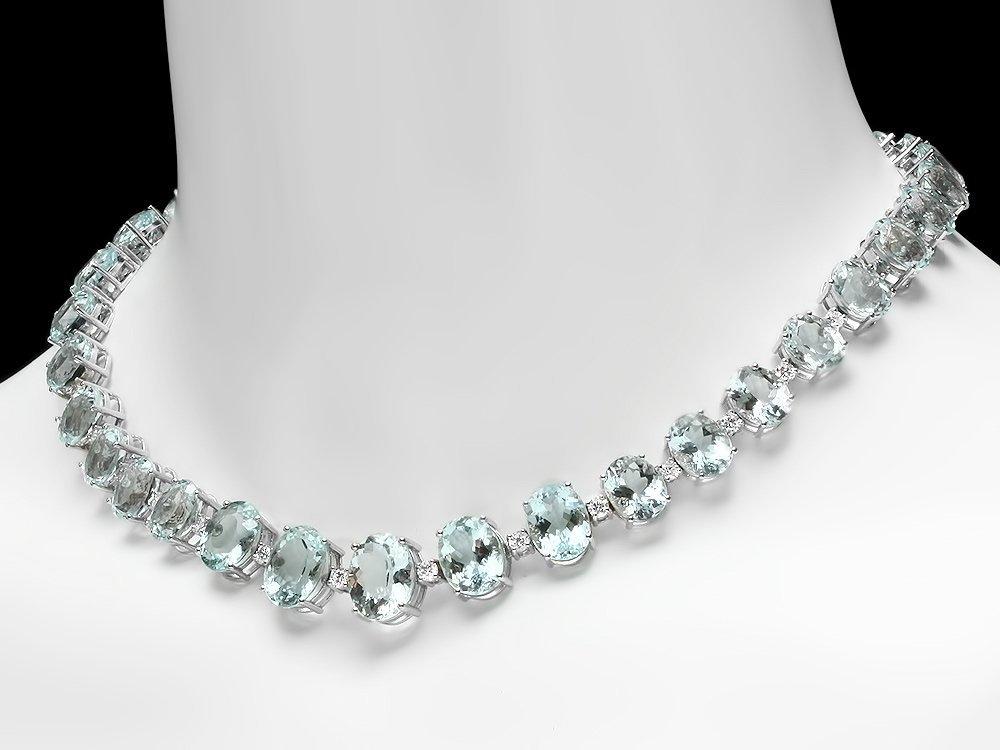 14k Gold 95ct Aquamarine 1.55ct Diamond Necklace