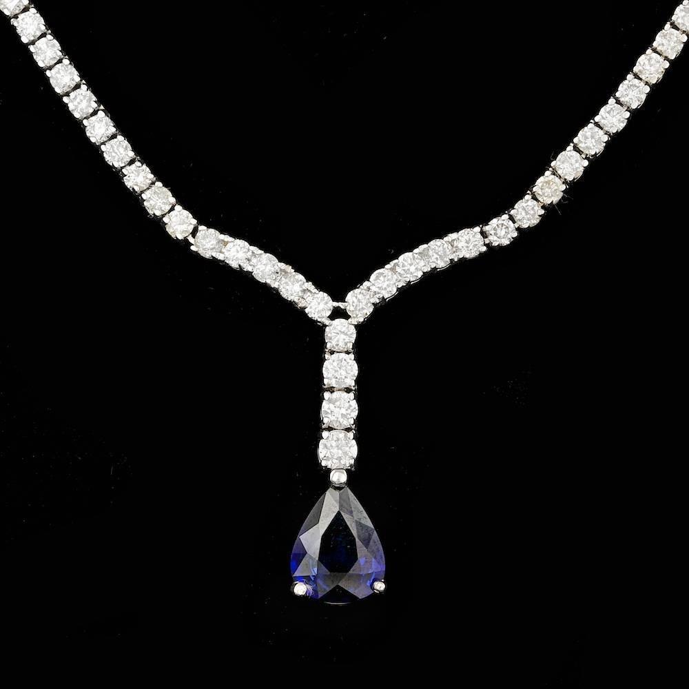 18k Gold 1.50ct Sapphire 4.20ct Diamond Necklace
