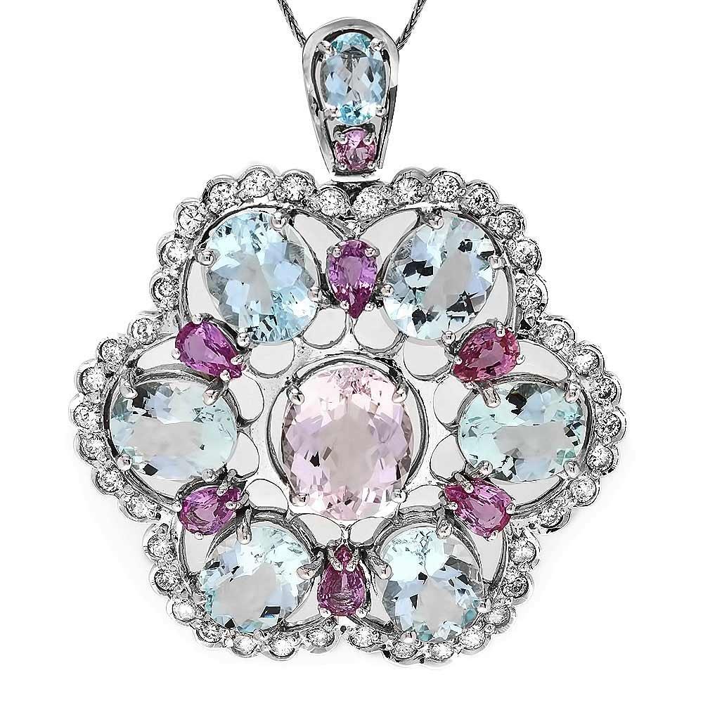 14k Aquamarine Morganite Sapphire Diamond Pendant