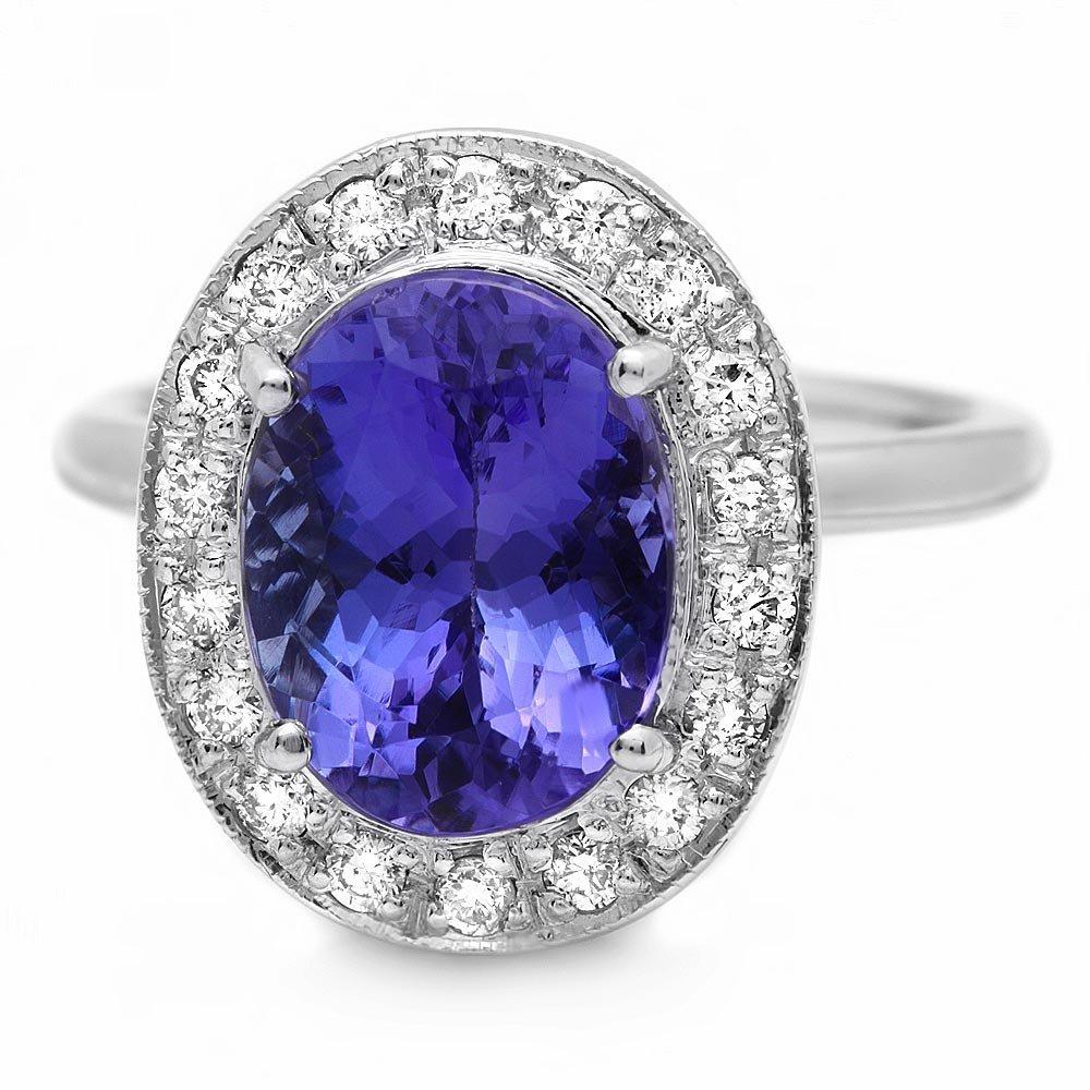14k Gold 5.00ct Tanzanite 0.40ct Diamond Ring