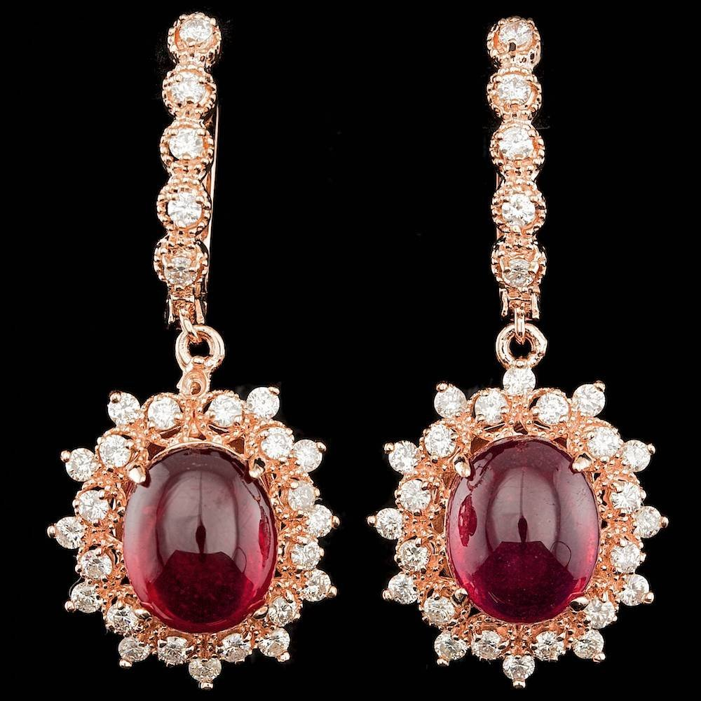 14k Rose 14.00ct Ruby 1.65ct Diamond Earrings
