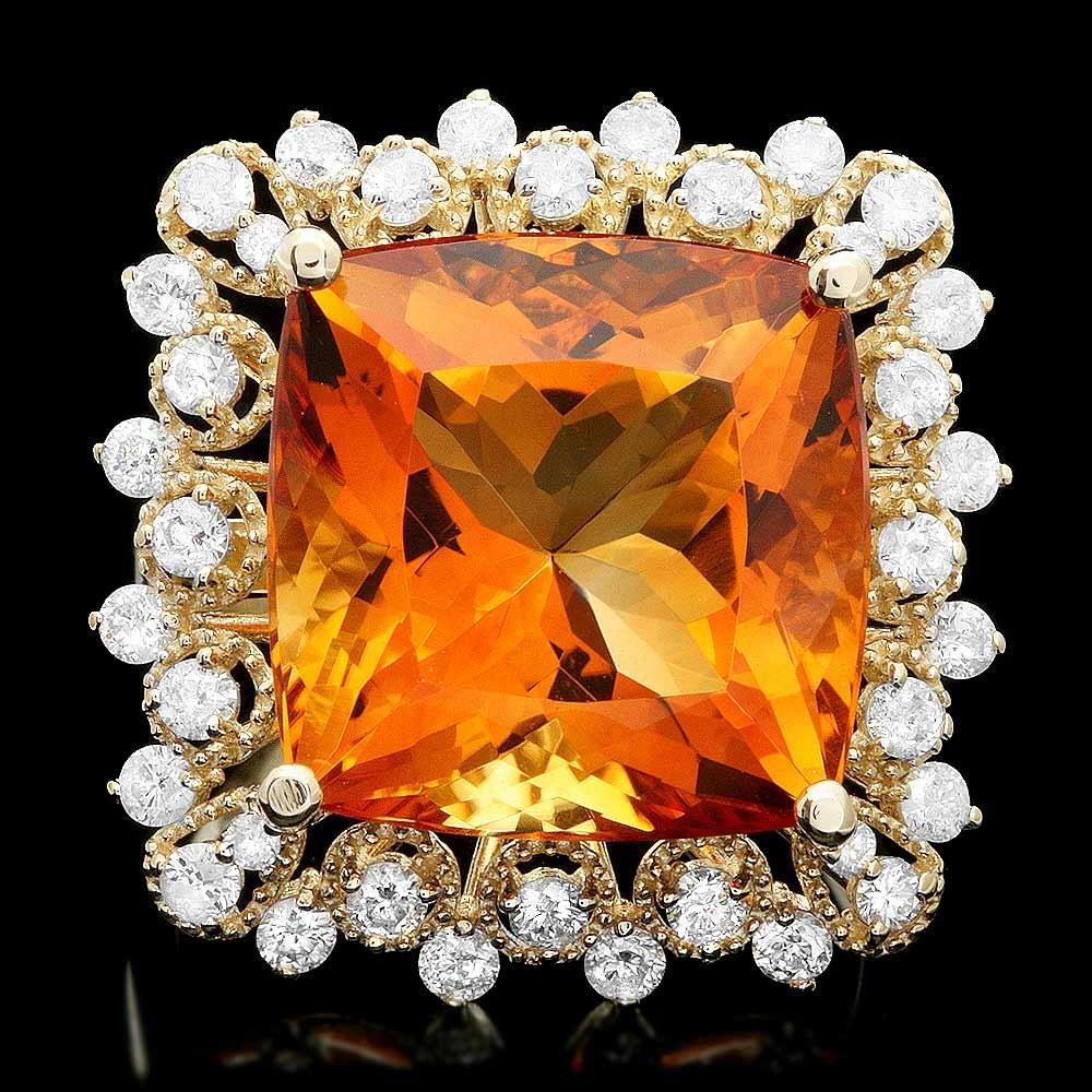 14k Gold 12.00ct Citrine 1.00ct Diamond Ring