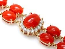 14k Gold 35ct Coral 1.70ct Diamond Bracelet