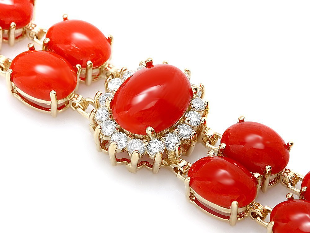 14k Gold 35ct Coral 1.70ct Diamond Bracelet