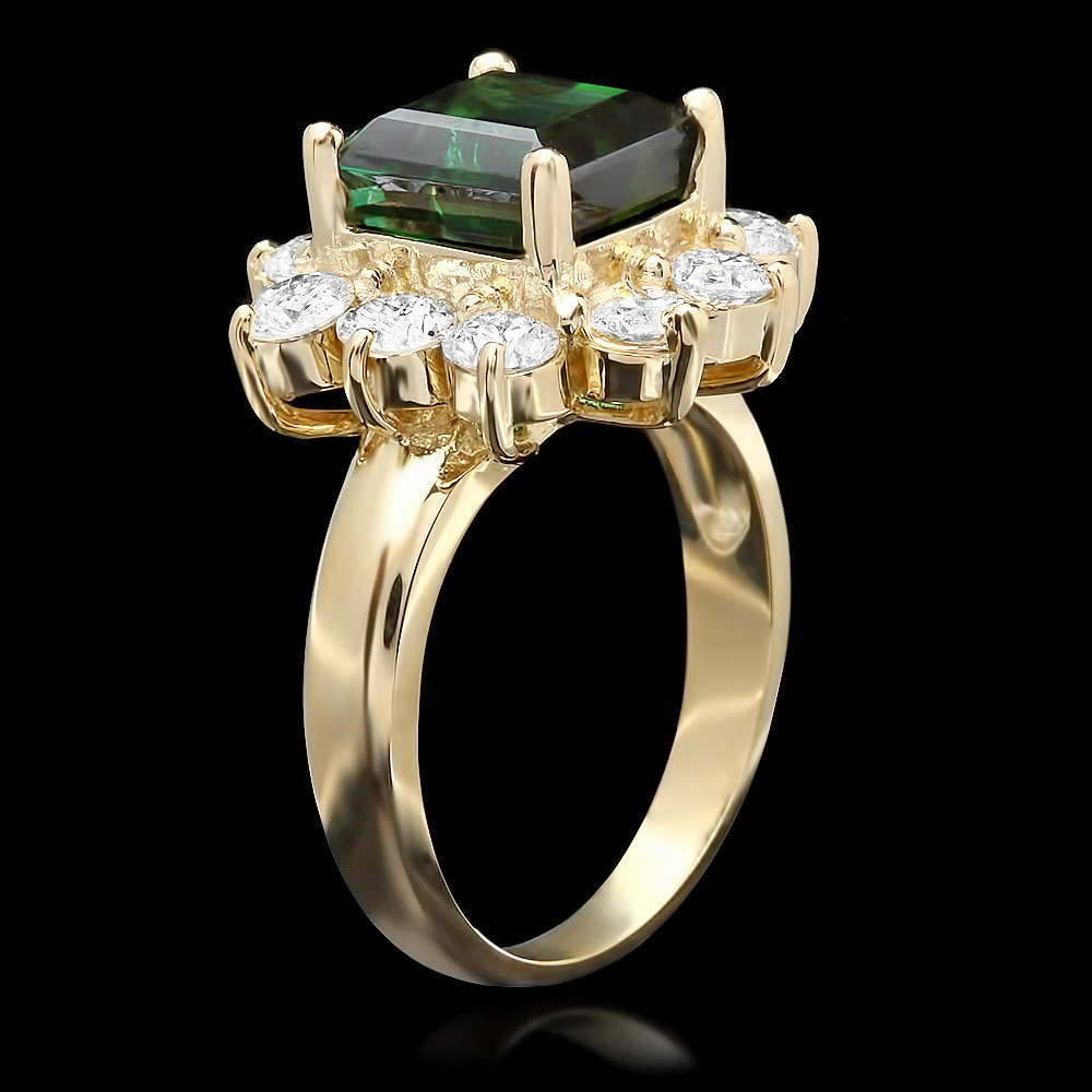 14k Gold 4ct Tourmaline 1.70ct Diamond Ring - 2