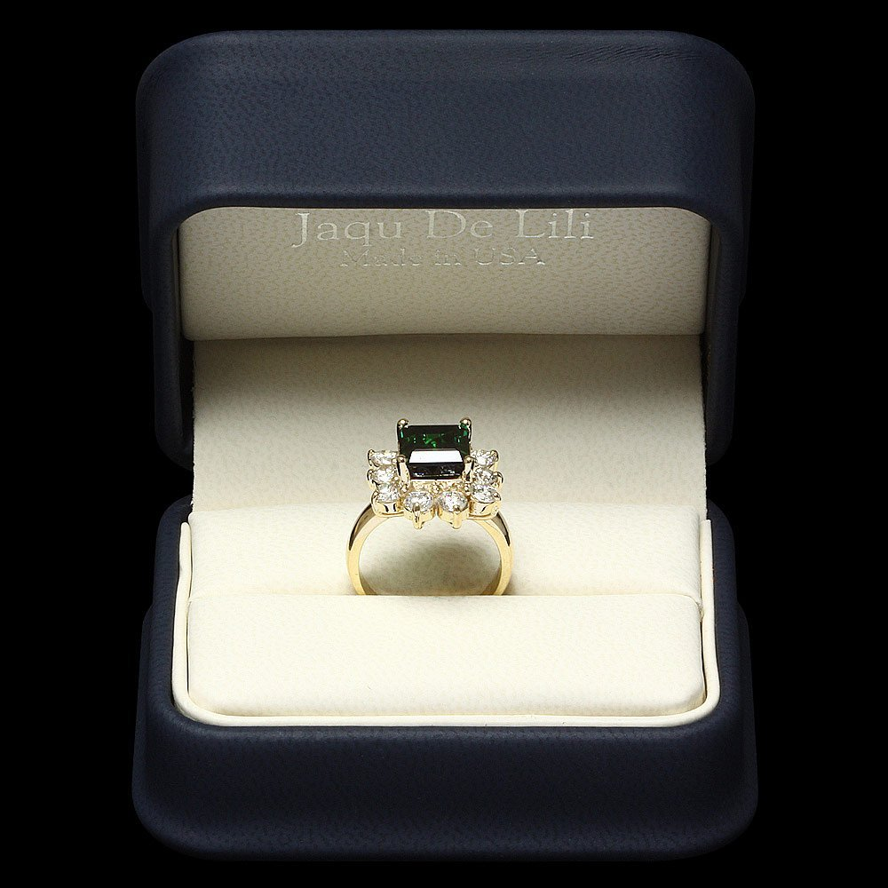 14k Gold 4ct Tourmaline 1.70ct Diamond Ring - 3
