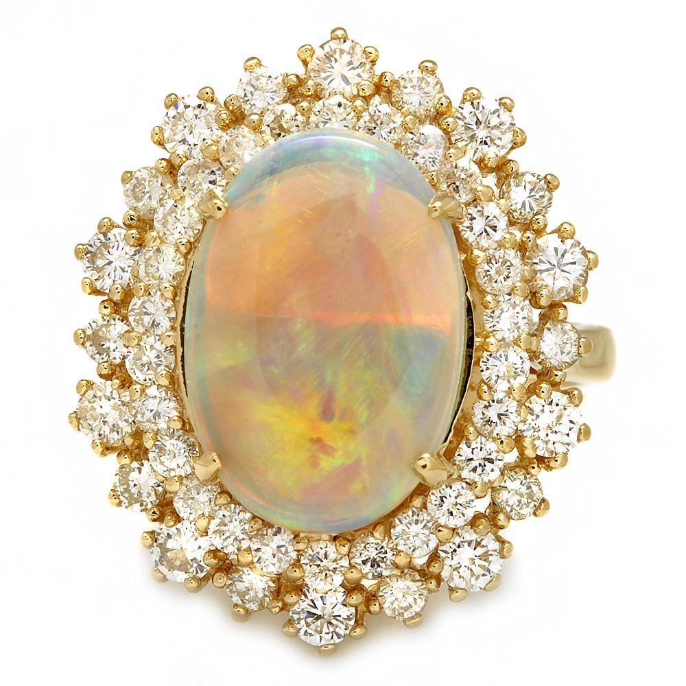 14k Yellow Gold 2.50ct Opal 1.65ct Diamond Ring