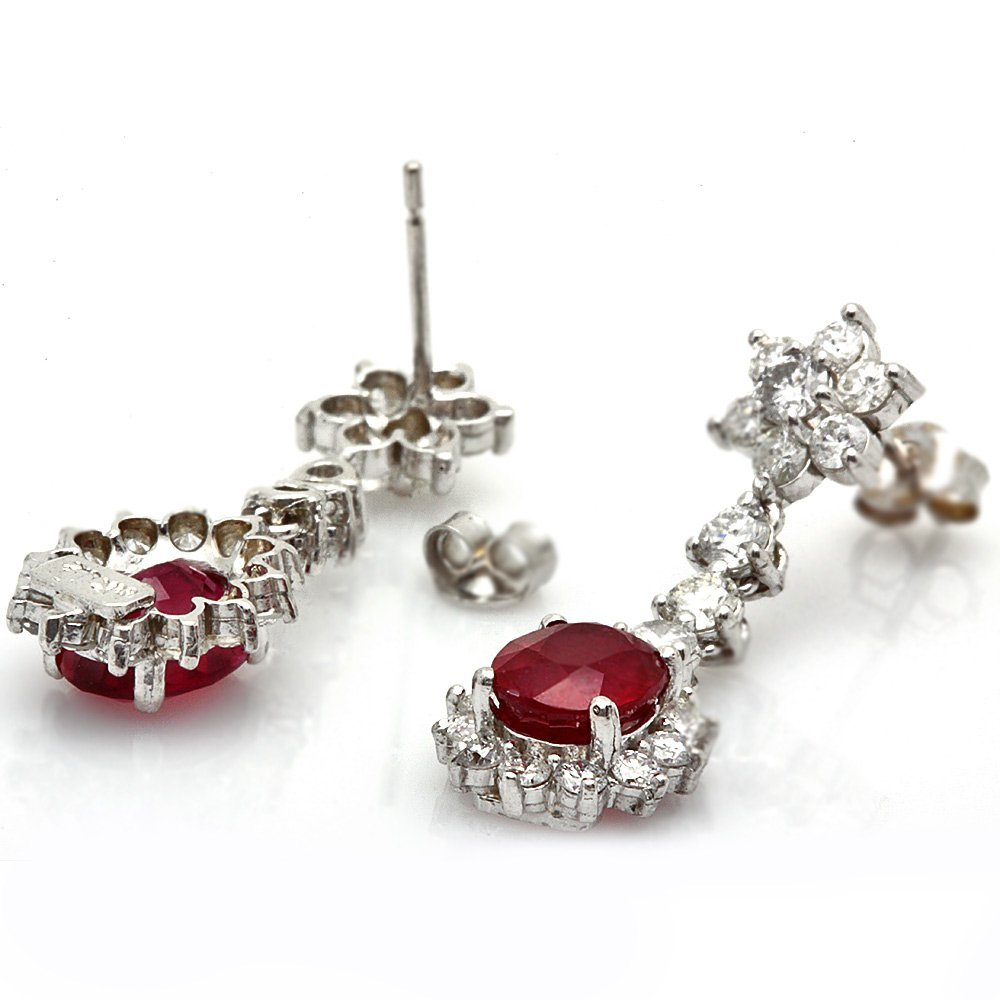 14k Gold 5.00ct Ruby 2.50ct Diamond Earrings
