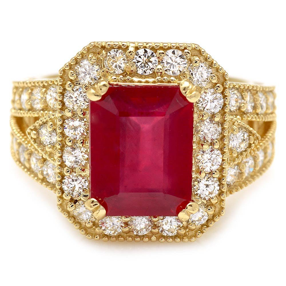 14k Yellow Gold 4.50ct Ruby 1.30ct Diamond Ring