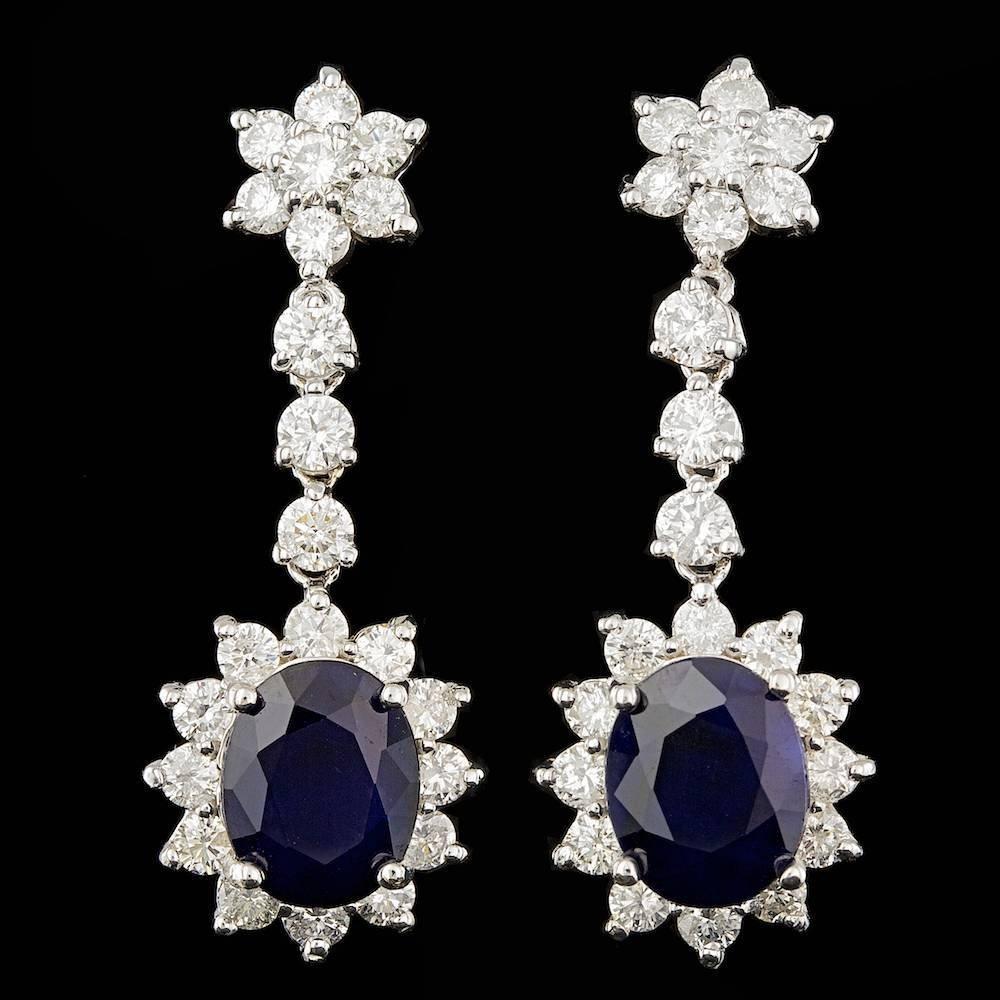 14k Gold 7.00ct Sapphire 3.10ct Diamond Earrings